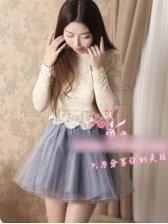 New Arrival Polka Dots Fluffy Gauze Mini Skirt