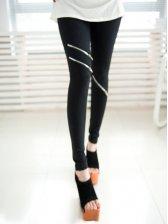 Hot New Zipper Decoration Slim Leggings In Black
