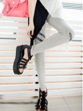 Fashion Girls Pure Color Zipper Slim Leggings