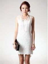 Elegant Style Hook Flower Rhinestone Decoration Sleeveless Lace Dress