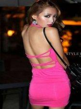New Fashion Pure Color Deep V-neck Backless Dress