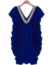 Brand New Fashion V-neck Beaded Short Sleeve Dress