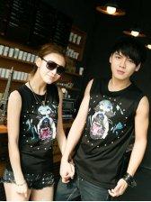 Summer Fashion Dogs Print Diamond Studded Couple Tank