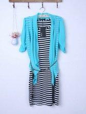 Fresh OL Striped Tank Dress Chiffon Blue Blouse Two-piece Set
