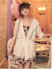 Spring Pulling Ropes Lace Hooded Apricot Coat