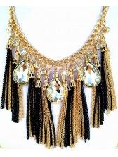 European Fashion Rhinestone Decoration Tassel Design Necklace