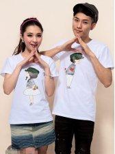Wholesale Cartoon Printing Short Sleeve Couple T-shirts