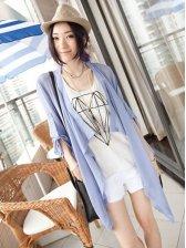 New Fashion Asymmetrical Pure Color Long Sleeve Coat