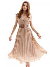 Korean Fashion Single-breasted Pure Color Pleated Chiffon Maxi Dress