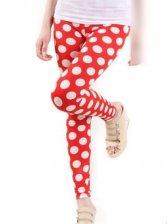 New Arrival Korean Polka Dots Stretchy Red Legging