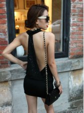 Vogued Lady Low Waist Back Sequin Halter Party Mini Dress