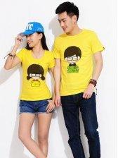 Hot Summer Cartoon Pattern Short Sleeve Couple T-shirt