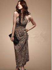 New Wild Fashion Leopard Halter Maxi Dress