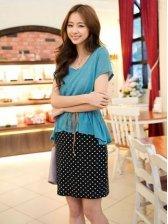 Lady Stylish Polka Dots Mock Two-piece Mini Dress