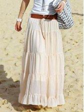 Bohemian Girls Slim Full-length Skirt In Apricot