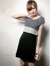 Summer Style Round Neck Stripe Tank Dress