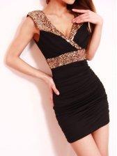 Sexy Woman Ruffle Sequins V-neck Tank Dress