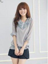 Summer Fashion Stereo Flower Three-quarter Sleeve Gray Blouse