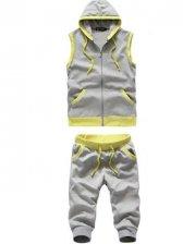 Summer Hot Sale Hooded Zipper Sleeveless Light Gray Hoddies Activewear