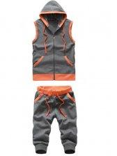 Hot Sale Hooded Pulling Ropes Sleeveless Dark Gray Hoddies Activewear