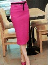 Charming Girls Pure Color Slim Mid-length Skirt