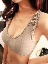 New Women Stylish Studded Pearl Bra Top
