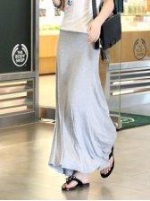 Hot Fashion Big Hem Pure Color Casual Long Skirt