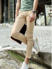 Korean Style Pure Color Side Pockets Slim Long Pants