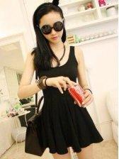 Cute Korean Summer Solid Color Black Cotton Sleeveless Dress