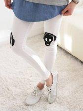 Modern Korean Spring Skull Patch Lycra White Leggings