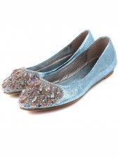 Sweet Fashion Rhinestone Studded Design Sharp Toe Flat Shoes