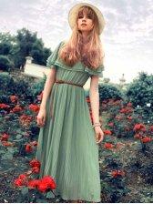 Lady Fashion Natural Waist Flare Sleeve Dress