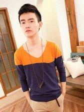Hot Sale Color Matching Pocket Design V-neck Knitted Pullover