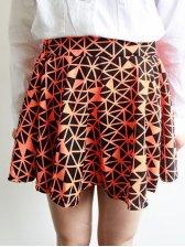 Sweet Style Fluorescence Color Geometric Pattern Bubble Short Skirt