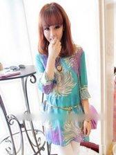 Charming Girls Flower Pattern Round Collar Long Sleeve Dress