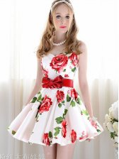 Charming Lady V-neck Empire Waist Flower Print Tank Dress