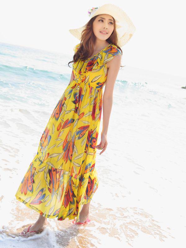 Summer Beach Ruffled Feather Chiffon Yellow Maxi Dress