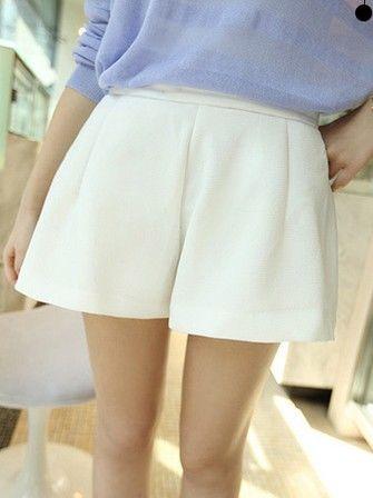 New Fashion Back Zipper Pure Color Short Pants