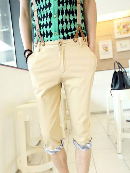 Summer Striped Patch Zipper Three-quarter Pants With Belt