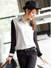 Stylish Lady Beaded Collar Color Block Long Sleeve Blouse