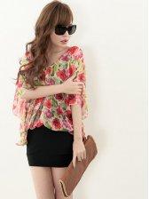 Hot Summer Floral Print Blouse&Straps Dress Two-piece Set