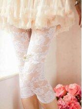 Hot Girl See-through Rose White Skinny Leggings