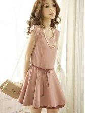 Sweet Summer Round Collar Short Sleeve Layered Pink Dress