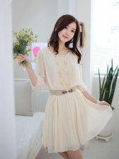 Summer Girl Three-quarter Sleeve Studded Dress