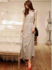 Modern Summer Hollow-out Drawstring Gray Cotton Maxi Dress