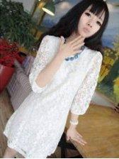 Retro Style Lady Lace Crochet Three-quarter Sleeve Dress