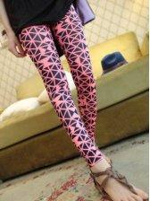 Hot Fashion Geometrical Pattern Natural Waist Slim Leggings
