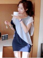 New Fashion Color Block Round Collar Bat Sleeve Dress