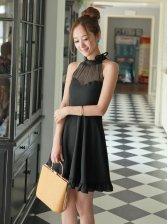 Korean Style Stand Collar Slim Fit Halter Mini Dress