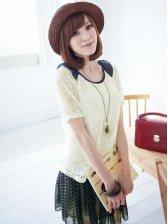 Cute Girls Doll Collar Short Sleeve Mock Two-piece Dress